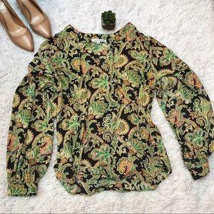 Rose + Olive Printed Blouse Size Medium